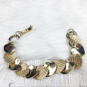 Vintage Gold Tone Hearts Link Bracelet